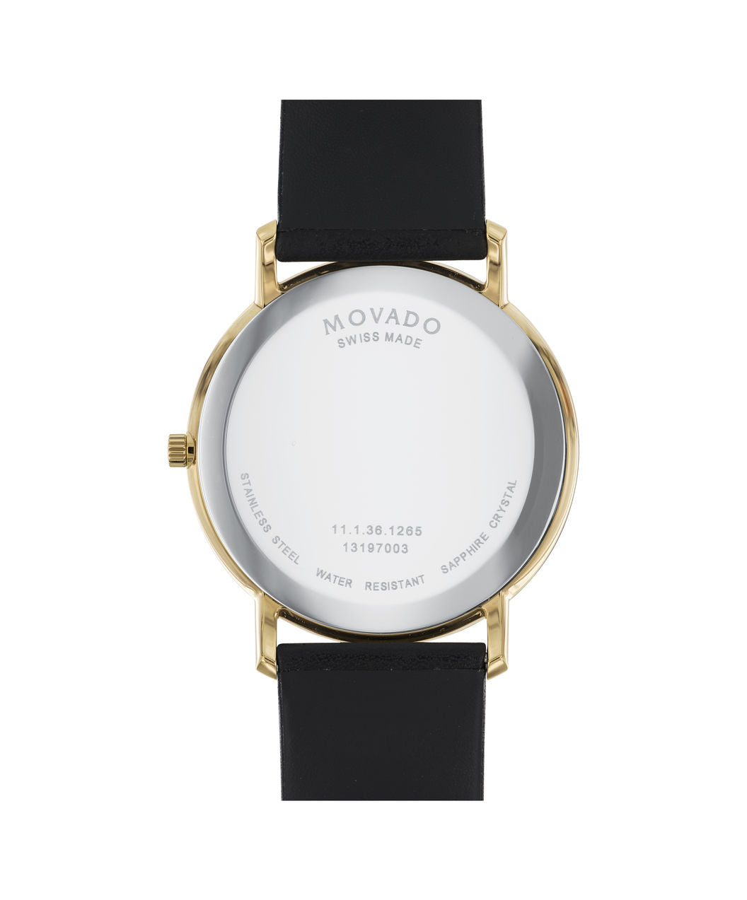Movado Watch Sapphire Collection - Gold PVD on Black Leather