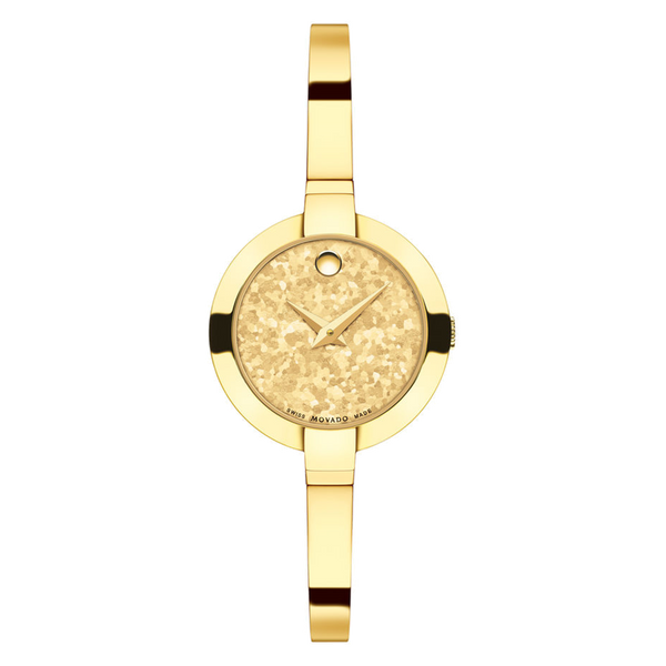 Ladies Movado Bela Gold Tone with Crushed Titanium Dial