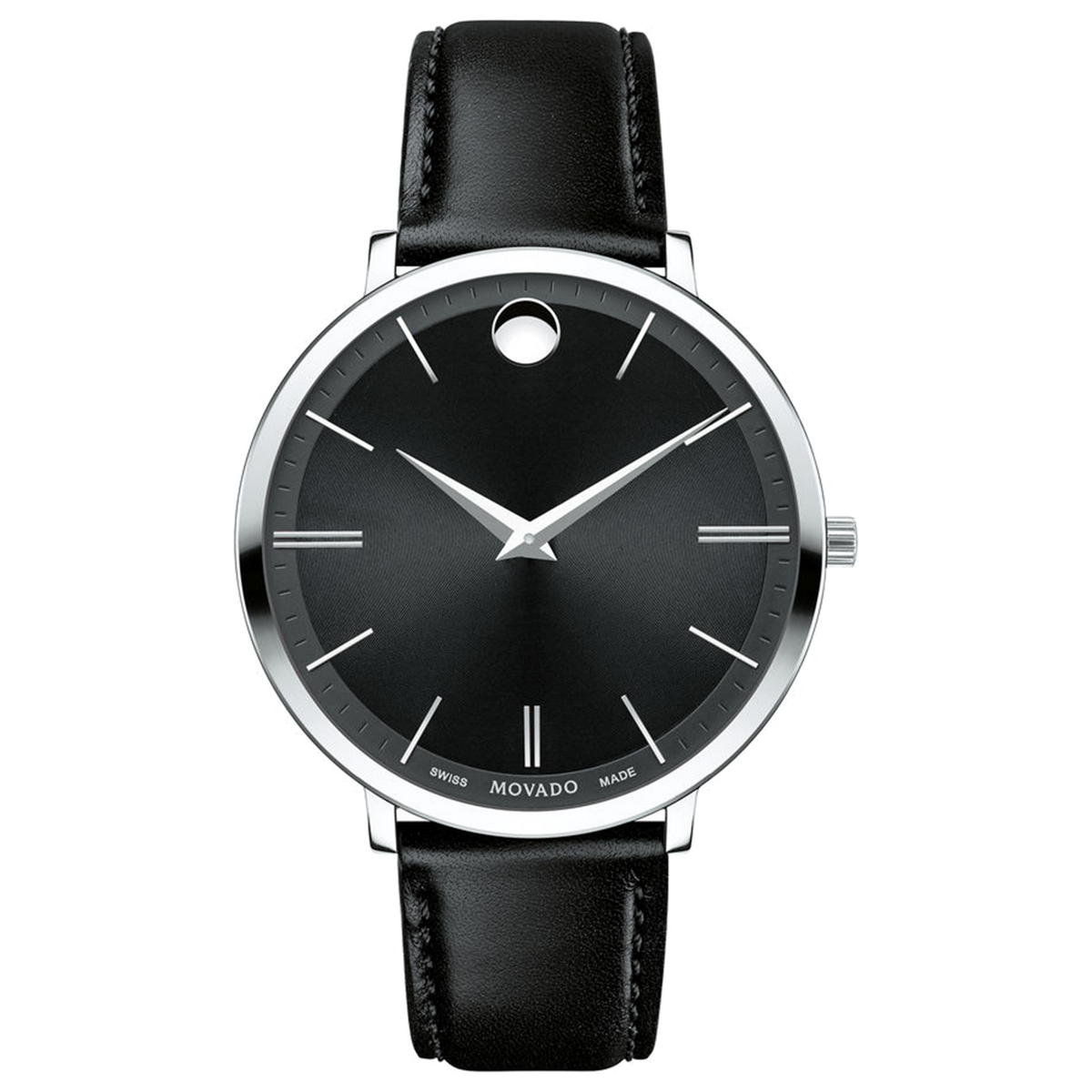 Movado Watch Ultra Slim Collection - 35MM Steel with Black Dial