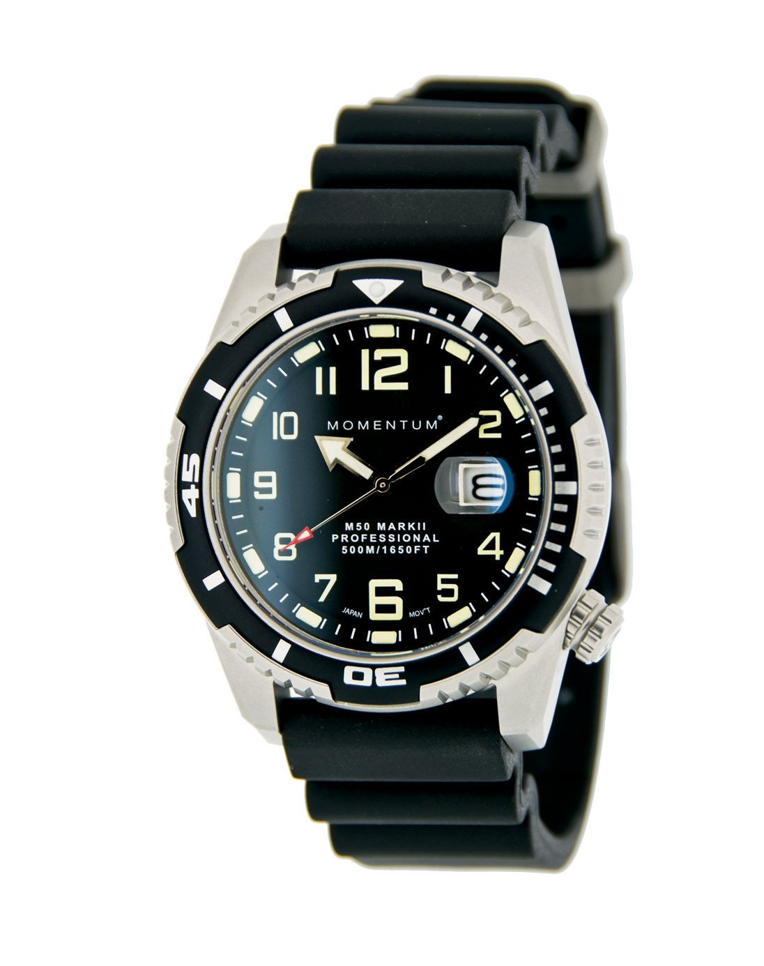 Momentum Watch - M50 Military Dive - Black Dial with Black Rubber Band