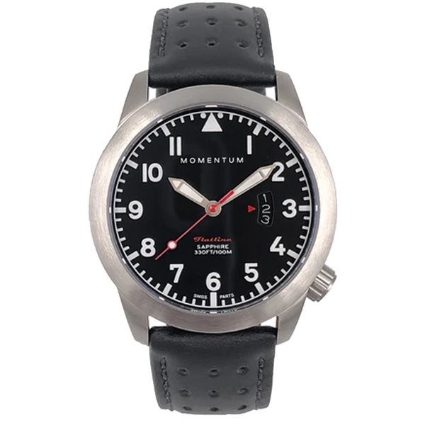 Momentum Flatline 42MM - Black Dial with Black Perforated Leather