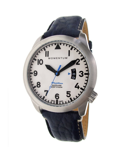 "Momentum Flatline - White Dial with Blue ""Miro"" Leather"