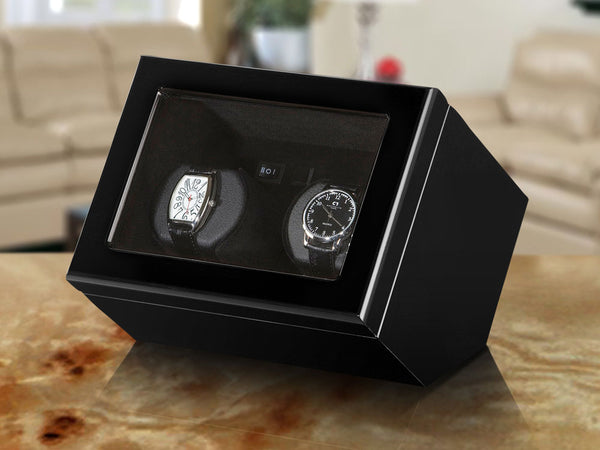 Boxy Watch Winder - Double, Black Wood