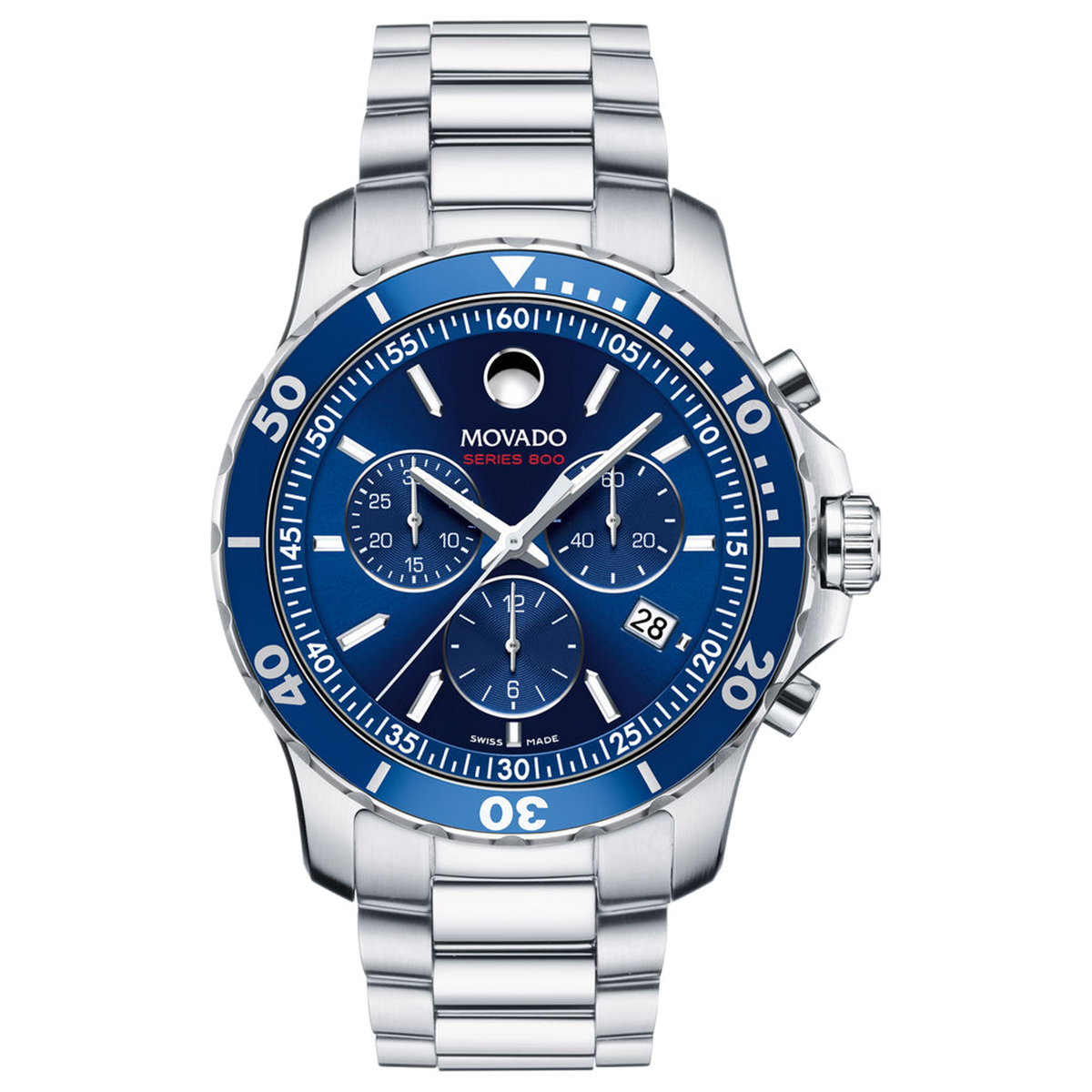 Movado Series 800 Chronograph - Stainless Steel with Blue Dial