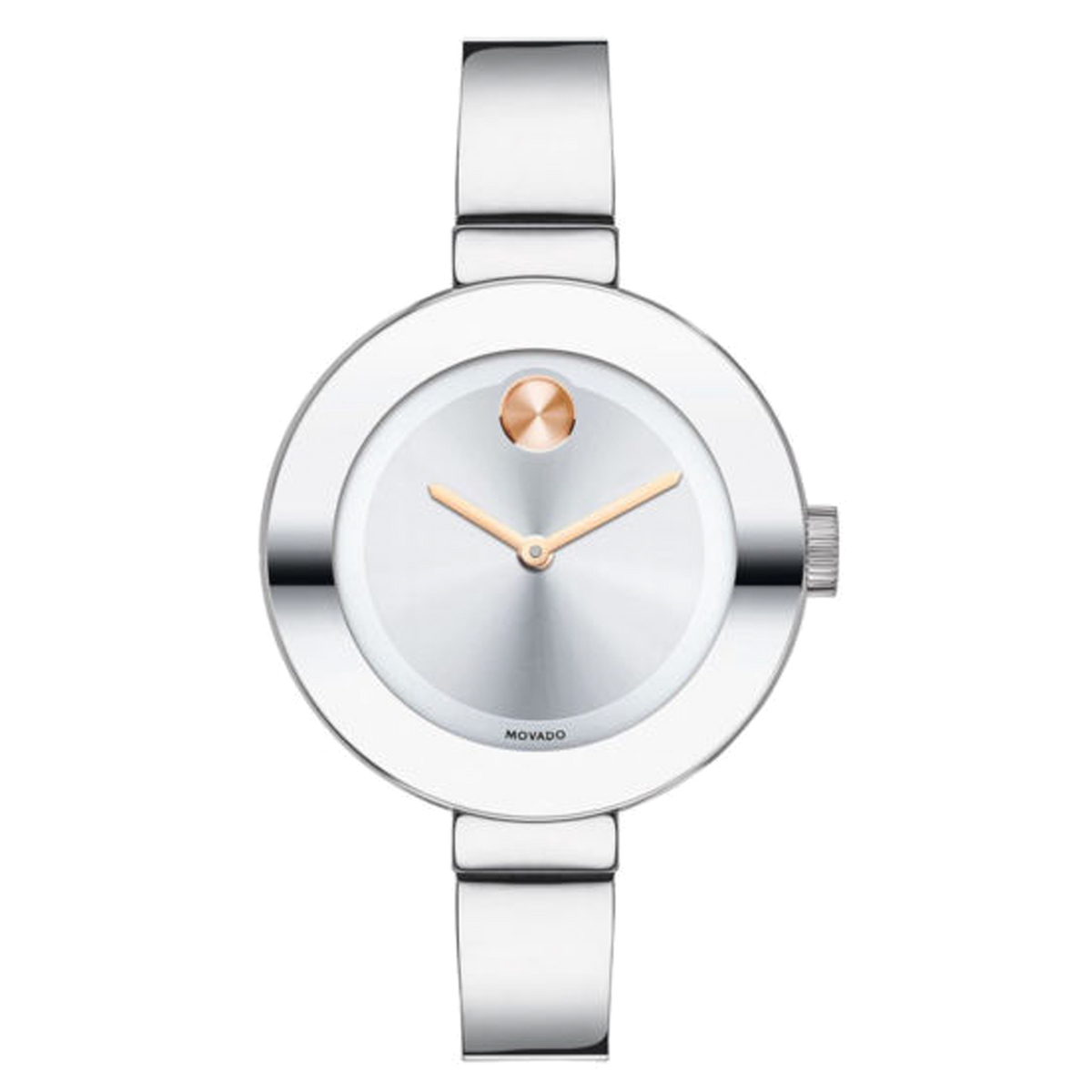 Movado Bold - Stainless Steel Bangle, Rose Gold Accents