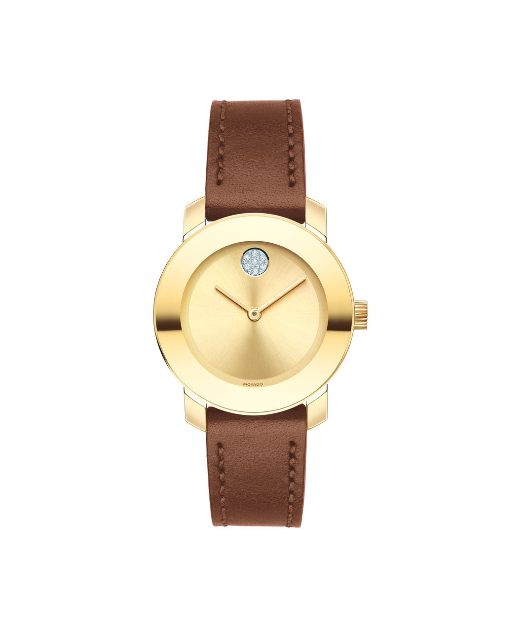 Movado Bold - Gold Tone with Brown Leather