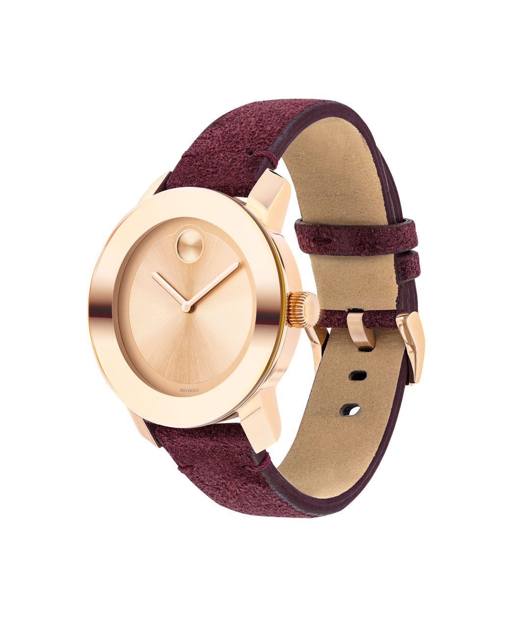 Movado Bold - Rose Gold with Red Suede Leather Strap