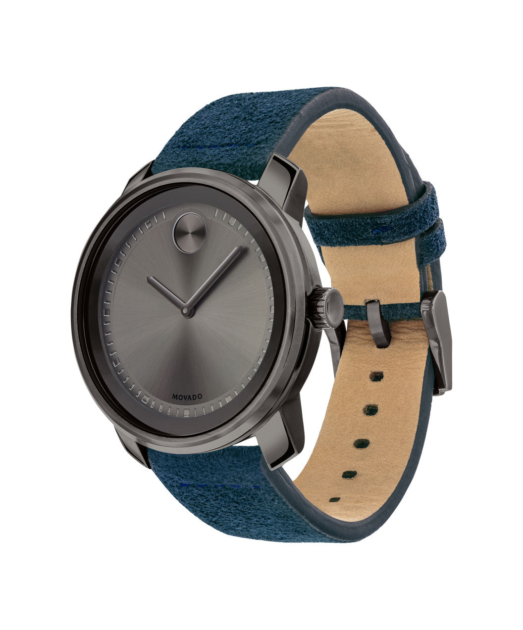 Movado Bold - Gunmetal with Blue Suede Leather Strap