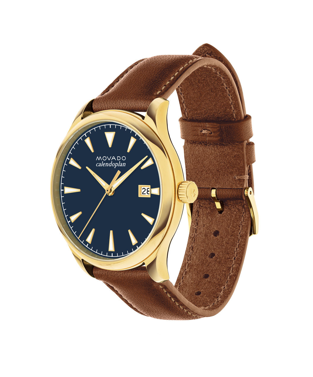 Movado Watch Heritage Series - Calendoplan Gold Tone with cognac Leather