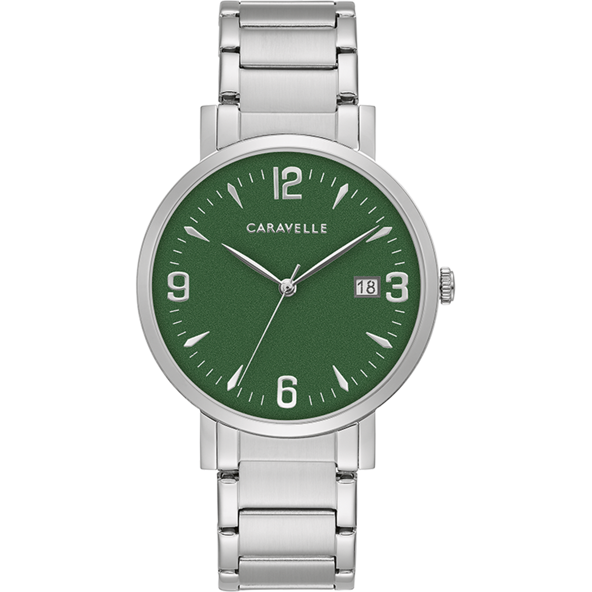 Caravelle Watch - Stainless Steel with Green Dial