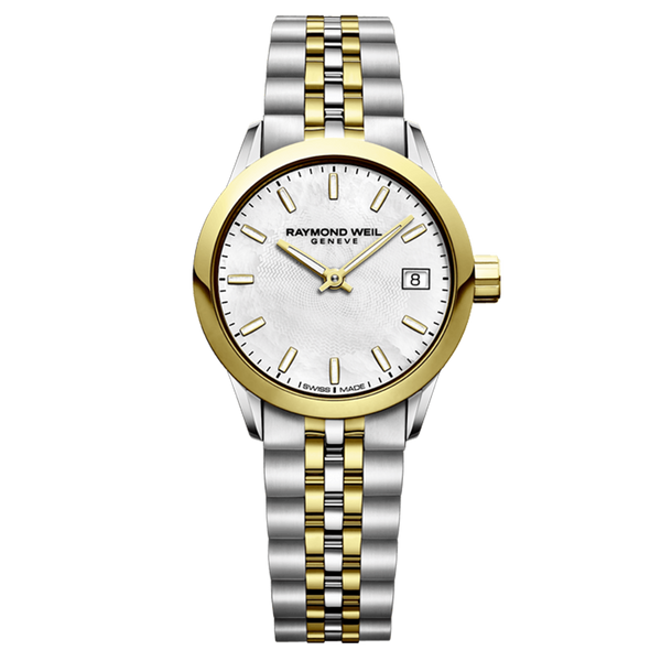 Raymond Weil Watch -FREELANCER Date, 26mm Yellow gold PVD plated, stainless steel, mother-of-pearl dial