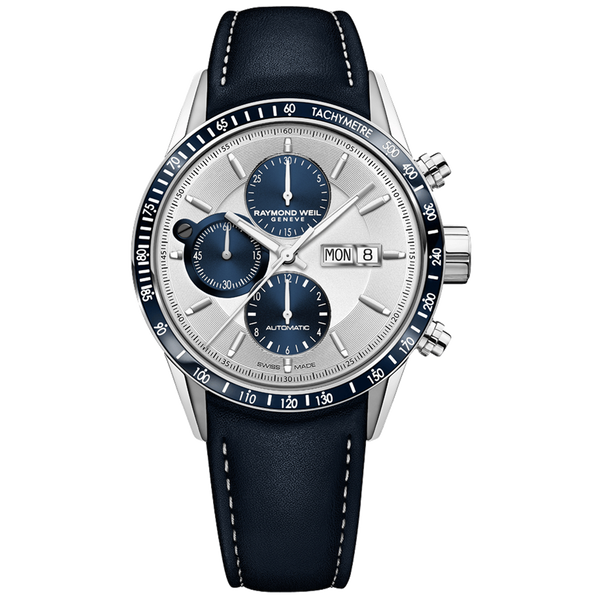Raymond Weil Watch - FREELANCER Men's Blue Automatic Chronograph Watch, blue leather strap