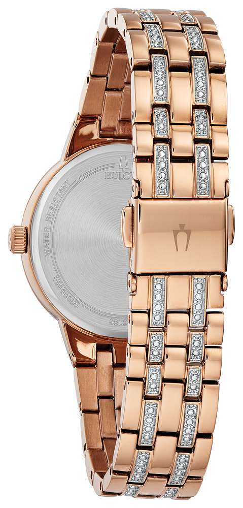 Bulova - Ladies Crystal Watch - Rose Gold Tone