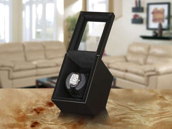 Boxy Watch Winder - Single, Black Wood