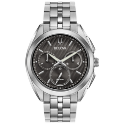 Bulova - Men's Curv Chronograph Watch - Stainless Steel with Black Dial