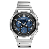 Bulova - Men's Curv Chronograph Watch - Stainless Steel with Blue Dial