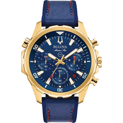 Bulova - Men's Marine Star Chronograph Watch in Gold Tone and Blue