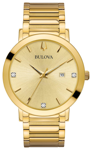 Bulova - Men's Modern Diamond Watch in Gold Tone