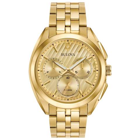 Bulova - Men's Curv Chronograph Watch - Gold Tone