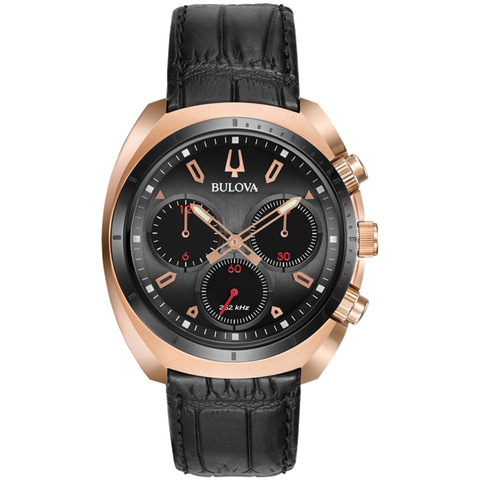 Bulova - Men's Curv Chronograph Watch - Rose Gold Tone with Black Leather