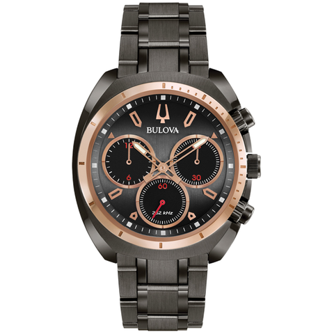 Bulova - Men's Curv Chronograph Watch - Black with Rose Gold Accents