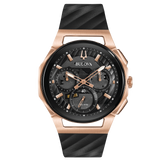 Bulova - Men's Curv Chronograph Watch - Rose Gold Tone with Rubber Strap