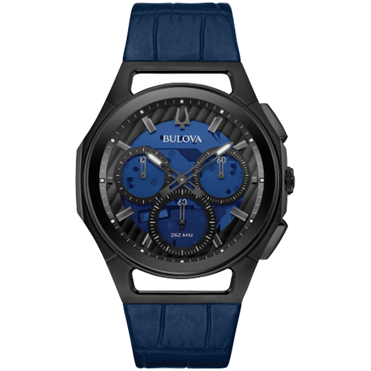 Bulova - Men's Curv Chronograph Watch - BLK PVD Steel with Blue Dial