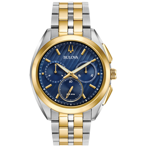 Bulova - Men's Curv Chronograph Watch - Two Tone with Blue Dial