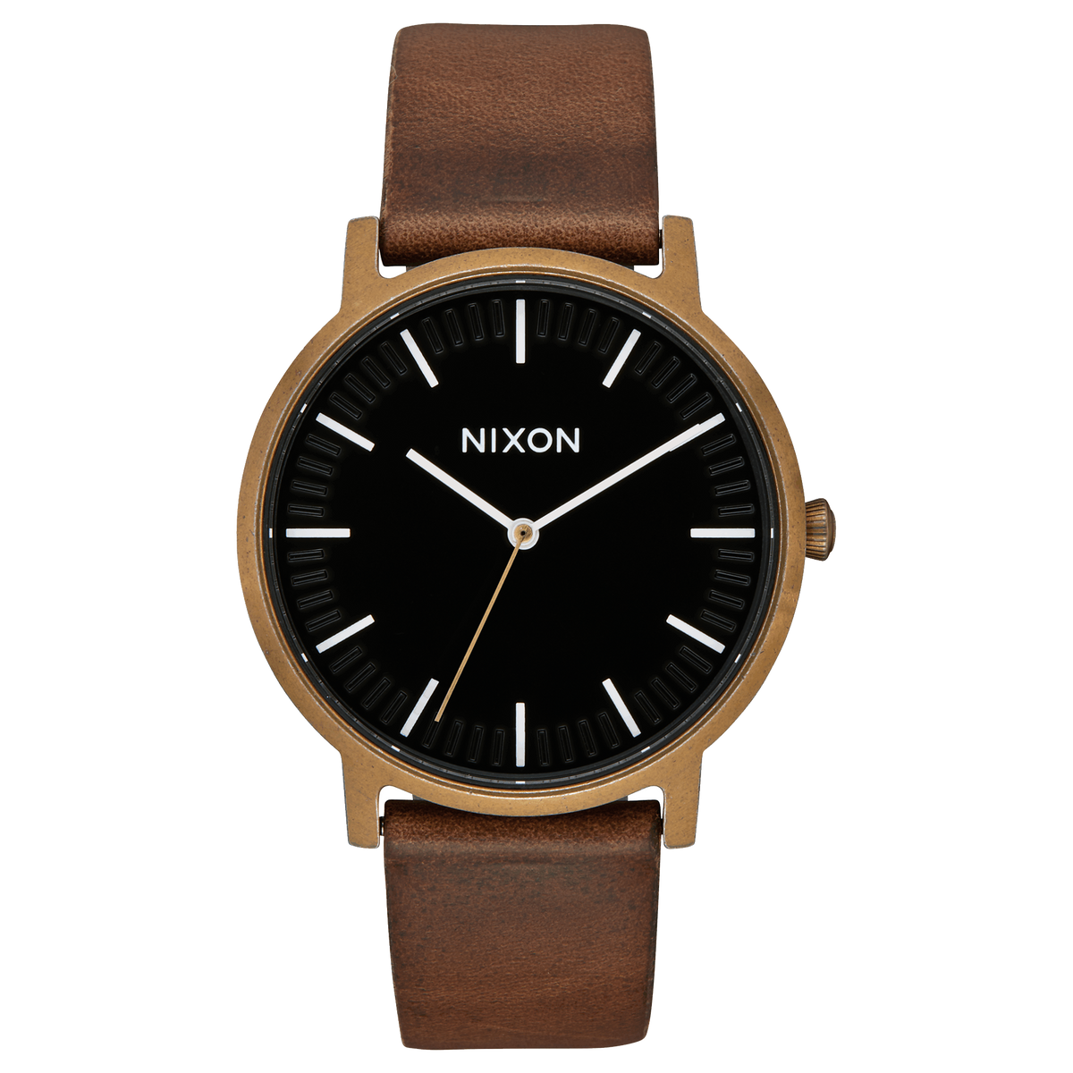 Nixon Watch - Porter 40mm Leather: Brass/Black/Brown
