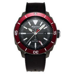 Alpina - SEASTRONG DIVER GMT - Stainless Steel Titanium PVD with Red Bezel