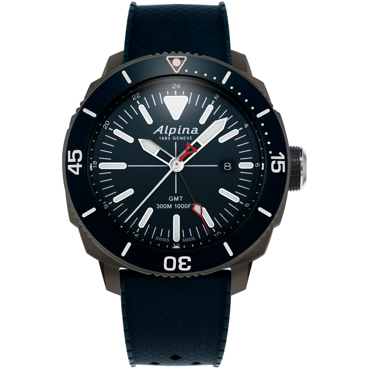 Alpina - SEASTRONG DIVER GMT - Stainless Steel Titanium PVD with Blue Dial/Bezel