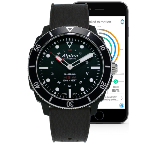 Alpina - SEASTRONG HOROLOGICAL SMARTWATCH - Black Dial, Black Rubber