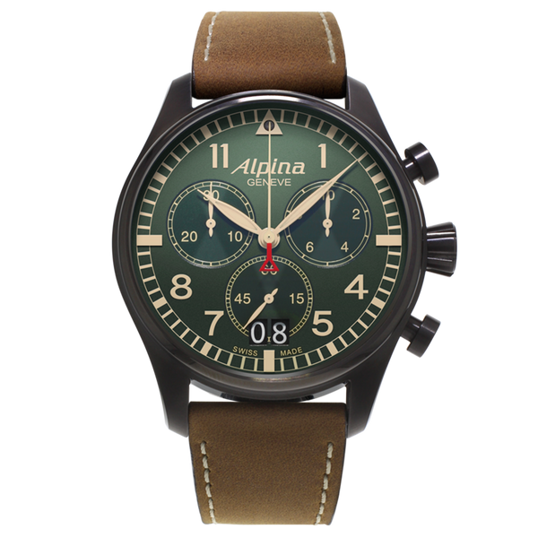 Alpina - STARTIMER PILOT BIG DATE CHRONOGRAPH MILITARY - Black Steel