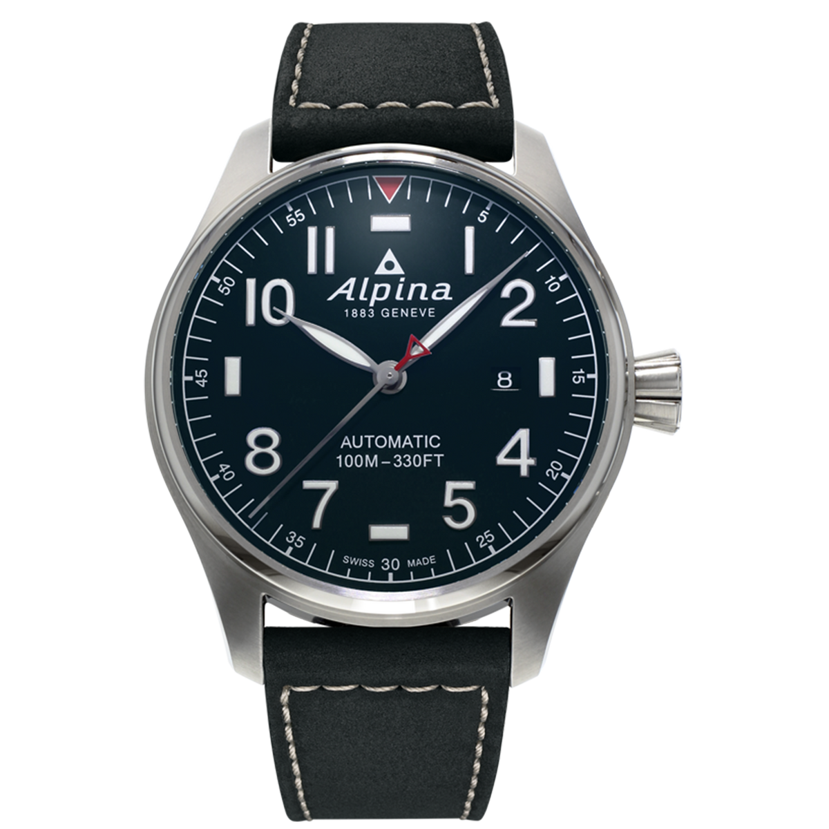 Alpina - STARTIMER PILOT AUTOMATIC - Navy Dial with Black Leather