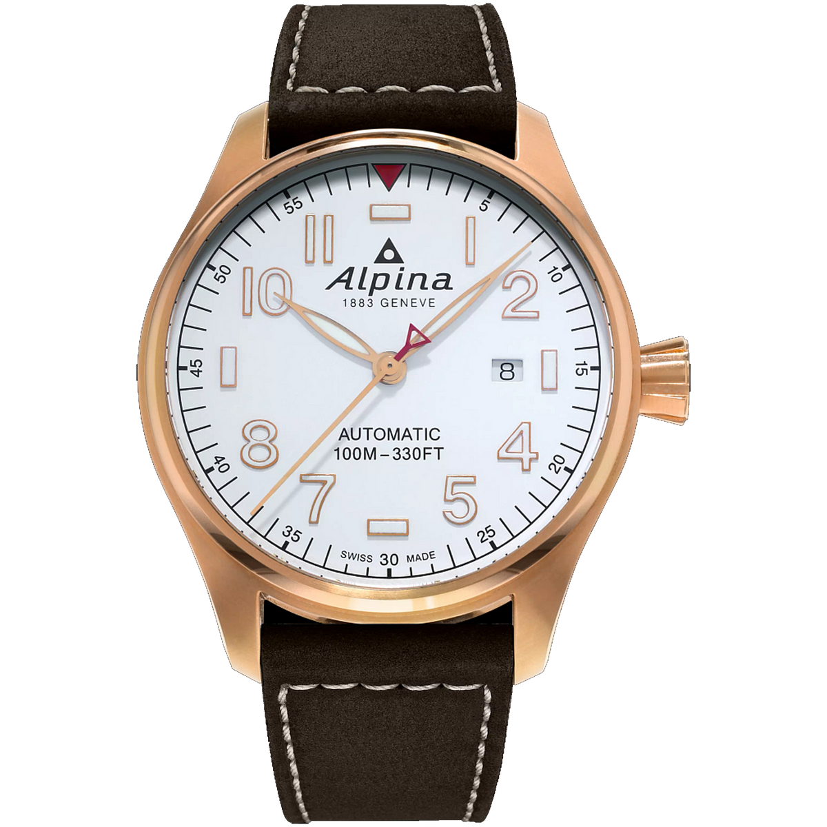 Alpina - STARTIMER PILOT AUTOMATIC - Rose Gold Tone with Brown Leather