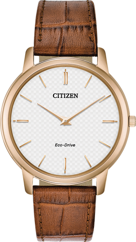 Citizen Eco-Drive - Stiletto Rose Gold with Brown Leather