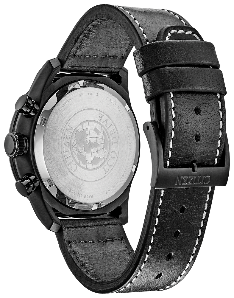 Citizen Eco-Drive -AVION Black Steel Chrono, Black leather