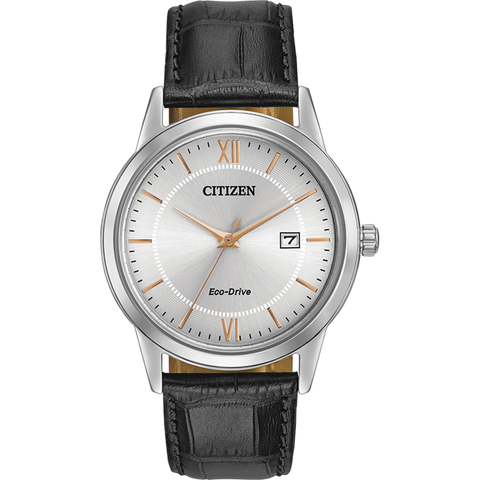 Citizen Eco-Drive - Silver with Black Leather Strap