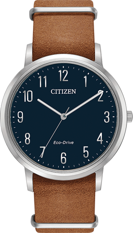 Citizen Eco-Drive - Chandler - Stainless Steel with Brown Leather Nato Strap