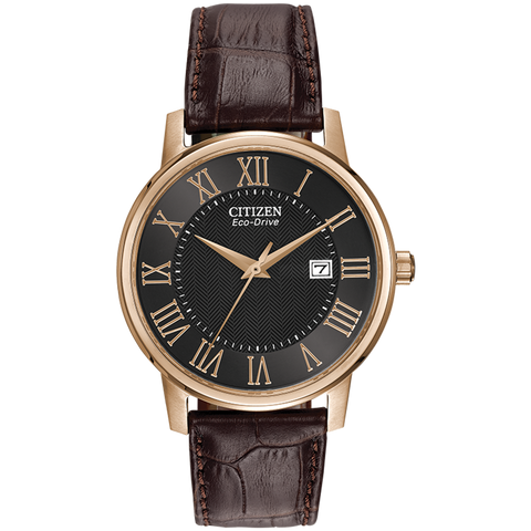 Citizen Eco-Drive - Rose Gold Tone, Brown Leather