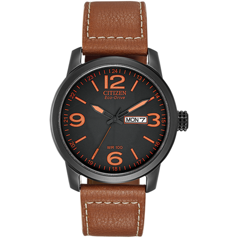 Citizen Eco-Drive - CHANDLER Black Steel with Brown Leather