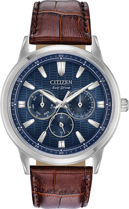Citizen Eco-Drive - Corso - Stainless Steel Multifunction with Brown Leather