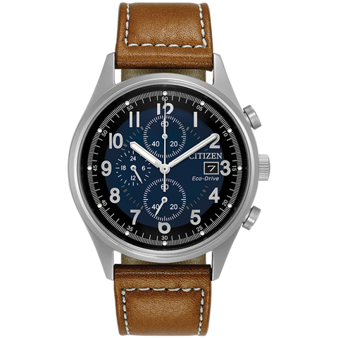 Citizen Eco-Drive - CHANDLER Stainless Steel Chronograph, Brown leather