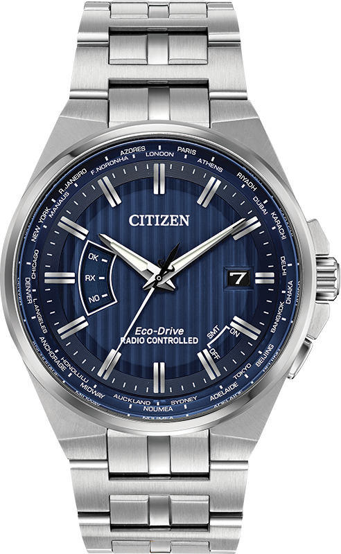 Citizen Eco-Drive - World Perpetual A-T - S/S with Blue Dial