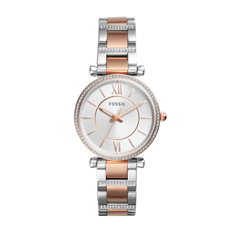 Fossil Watch - Carlie Three-Hand Two-Tone Rose Gold stainless steel watch