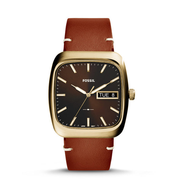 Fossil Watch - Rutherford three-hand day-date light brown Leather Watch