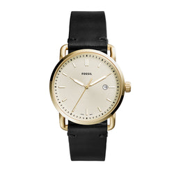 Fossil Watch - The Commuter Three-Hand Black Leather Watch