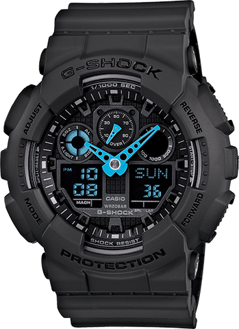 Casio G-Shock - Black ANI/DIGI Watch, Blue Accents