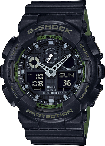 Casio G-Shock -  Ani/Digi - Black/Green Layered