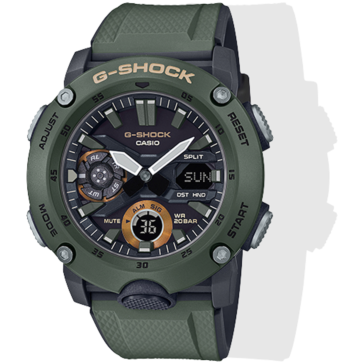 Casio G-Shock -  Ani/Digi - Carbon Core Guard - Green/Grey